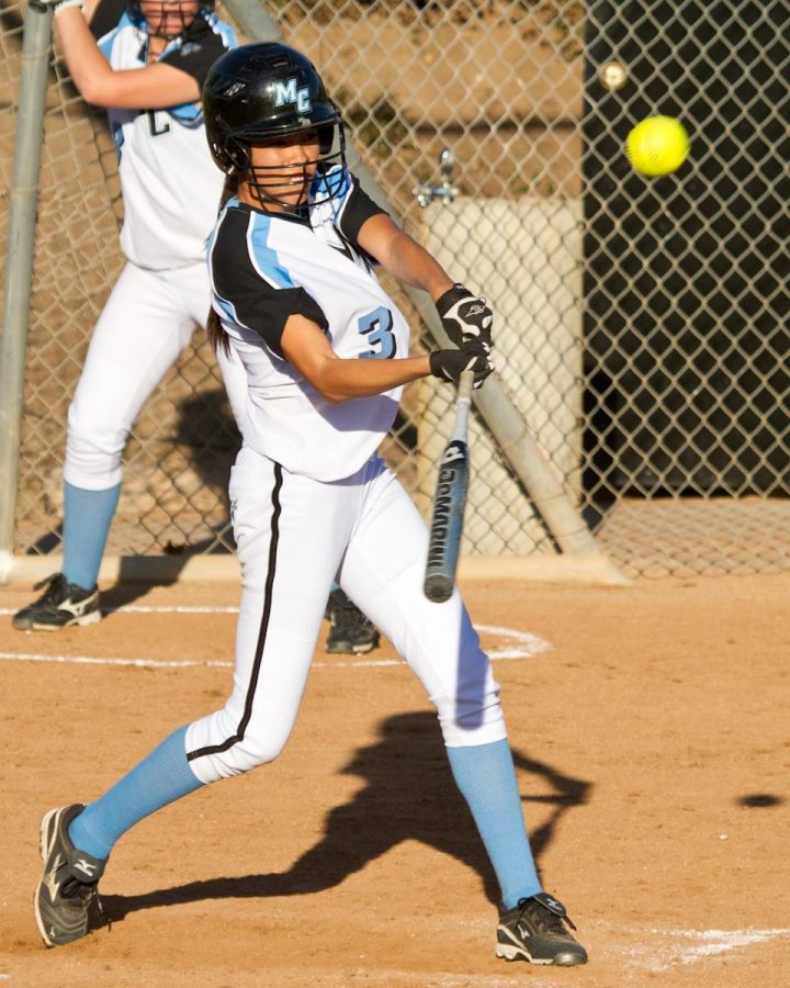 Moorpark College Lady Raider Amanda Chatman during the game against the Los Angeles Valley Monarchs at Moorpark College on Thursday, Feb. 23, 2012. The Monarchs won the game 8-2.