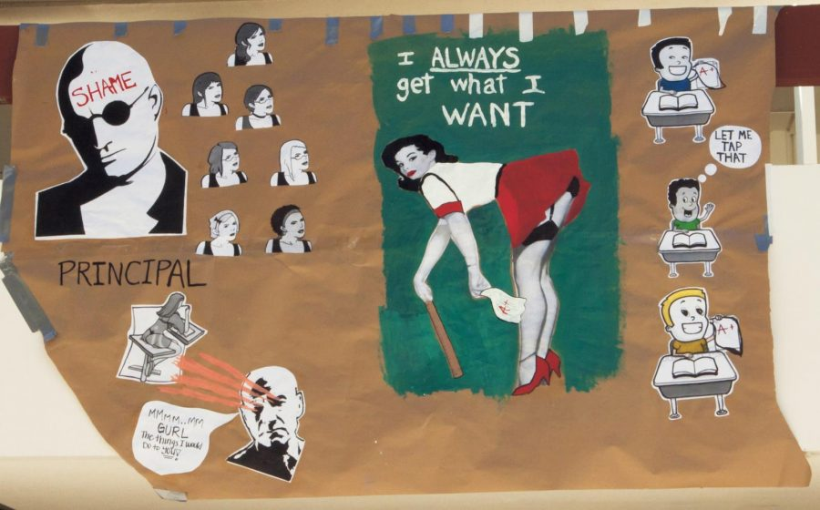 Moorpark College student Abri Frost drew and taped this poster on the second floor of the Technology building at Moorpark College on March 21st, 2012. She constructed this piece of art as part of an english project about