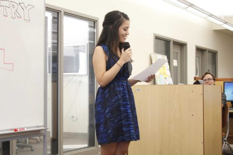 Poet Crystal Salas at the poetry reading on Sept. 18