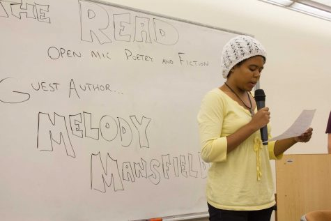 Melissa Rigaud, 20, undecided major, read a poem of her authorship this past Oct. 16 at