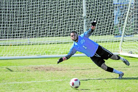 Moorpark Goalie Luis Monroy hones his skills at practice to prepare for the games. Monroy has 55 saves on the season Photo credit: Chase Oliver
