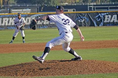 Freshman pitcher Jake Eaton throws a pitch against East L.A. College batter during the top of the seventh inning. The Raiders went onto win 12-10 Photo credit: Chase Oliver