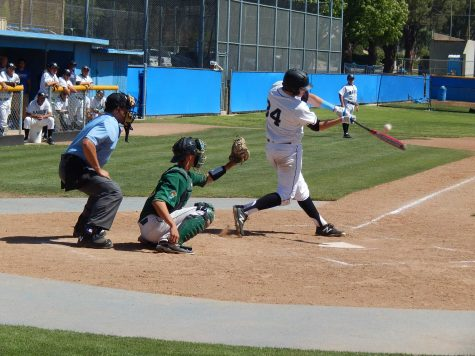 Raiders' freshman outfielder Jack Rosenberg hits the ball against non-conference Golden West College Saturday, March 26. The Rustlers won 8-6. Photo credit: Brian King