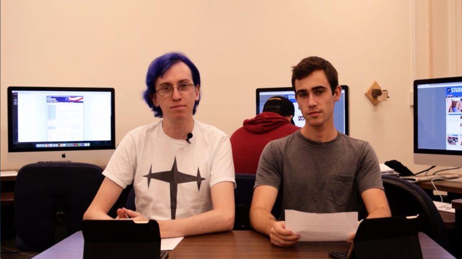 Student Voice Managing editor Leslie Kivett, left, and Photo editor Willem Schep read the news in the Oct. 27 Newsroom Minute. Photo credit: John Louie Menorca