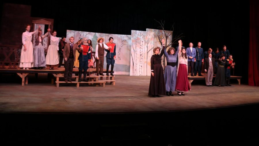 The cast of Three Sisters taking a bow after their performance at opening night. Photo credit: Luis Miron