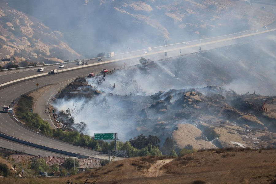 The Peak Fire started Monday morning, near the Rocky Peak area in Simi Valley. Photo credit: Michelle De Leon