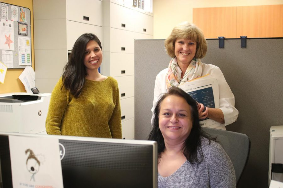 Clarissa Green, Mental Health Counseling, Sharon Manakas, Coordinator of Student Health and Maria Ramirez, Health Center assistant, are just a few of the staff members working to make sure students learning isn't interrupted by their healthcare needs Photo credit: Michelle De Leon