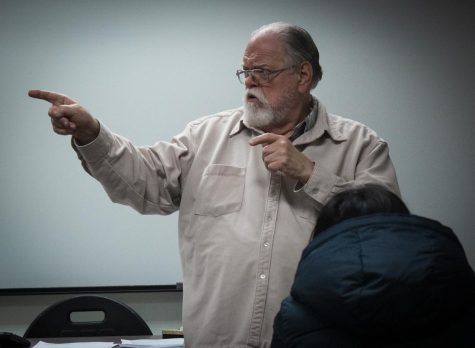 Lobenstein conducts a lecture to the students during his public speaking class. Photo credit: Evan Reinhardt