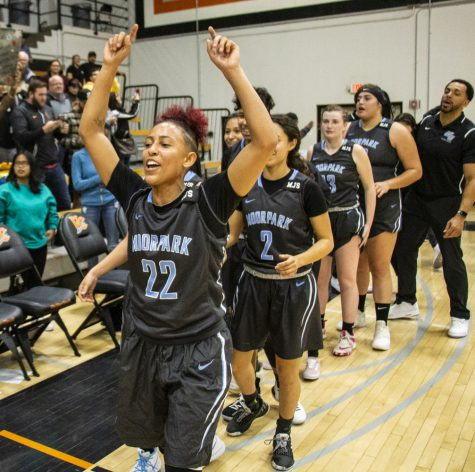 Freshman Breanna Calhoun leads the rest of her team off the court after winning their regular season final against Ventura College on Friday, Feb. 22, at Ventura College. This is Moorpark College's first conference championship win since 1990. Photo credit: Evan Reinhardt