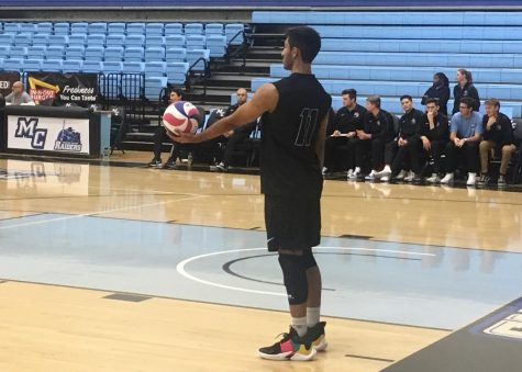 Right Side Hitter Jay Ahir prepares to serve during the Raiders home opener against the San Diego Mesa Olympians Feb. 1, 2019 in the Moorpark College gym. Photo credit: Danny Stipanovich