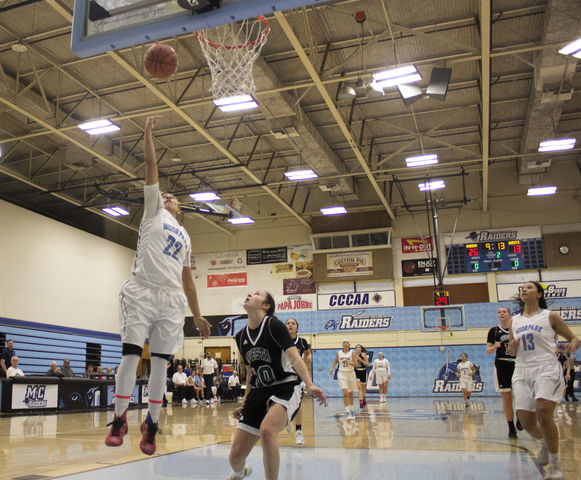 Breanna Calhoun, freshman guard for Moorpark College, goes in for a layup during Moorpark's game against Cuesta College on Jan. 19, 2019. Calhoun ended the game with thirteen points and ten assists. Photo credit: Evan Reinhardt