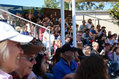 Guests filled the stands at one of the zoo's outdoor theatres for a performance by EATM's 2nd year students, on Saturday March 16, 2019. They laughed at a joke told by Elias Biaset, one of the students in the performance. Photo credit: Margot Rowe