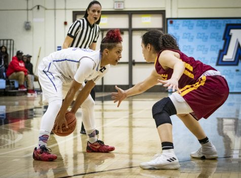 Freshman guard Breanna Calhoun faces off against sophomore guard Cheyenne Jankulovski, of Glendale College, during the Raiders' CCCAA Southern California regional final at home against the Vaqueros on Saturday, March 9. The Raiders won 79-66. Photo credit: Evan Reinhardt