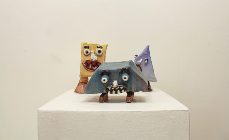 Julian Foley uses clay to make these three expressive creatures in various shapes. Photo credit: Shariliz Poveda