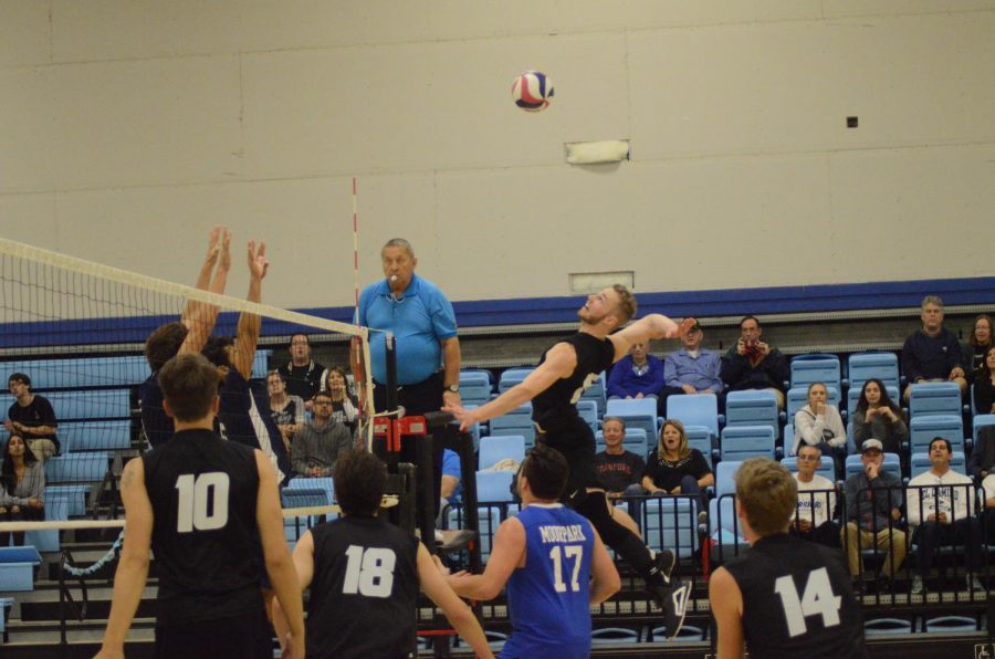 Dylan+Haskell+goes+for+the+kill+after+beautiful+set+up+from+teammate+Steven+Weese+Friday%2C+April+5+in+Moorpark+Calif.+Photo+credit%3A+Alec+Kamburov