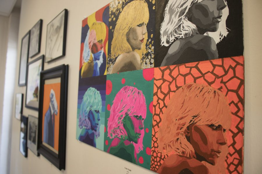 Aside+from+figure+drawing+and+cut+paper%2C+painting+is+another+area+of+Jeffrey%27s+interest%2C+as+shown+with+this+pop-art+style+painting+of+Charlize+Theron.+Photo+credit%3A+Natalie+Hyman