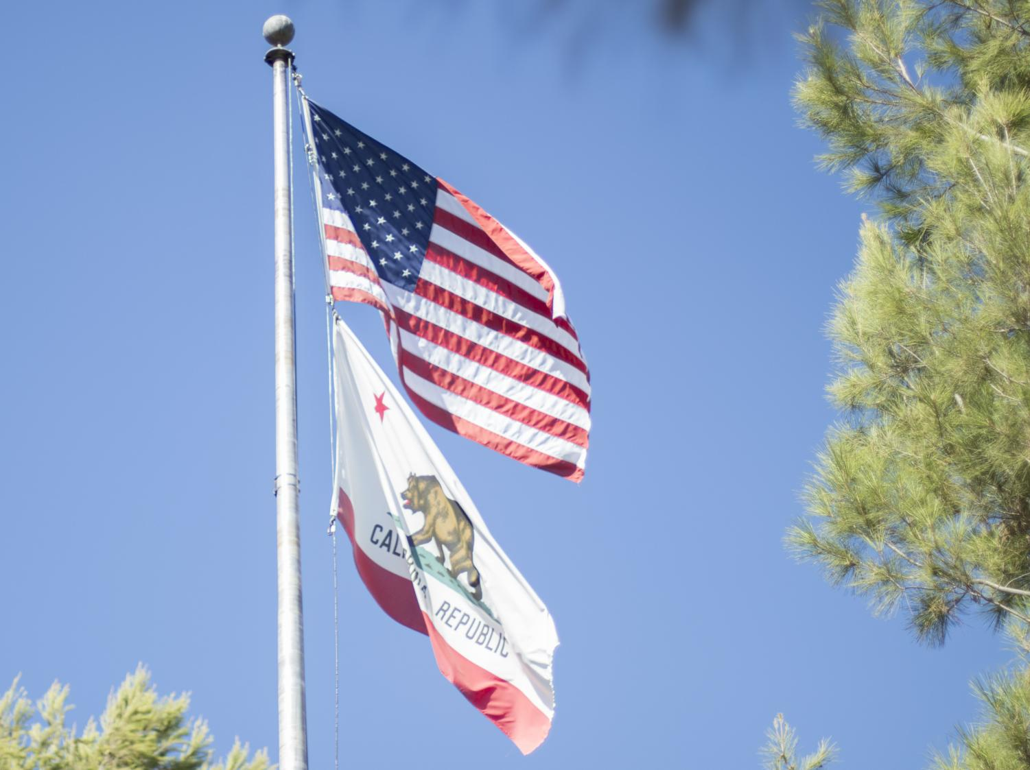 The American flag flew high on Wednesday, Sept. 18 on the Moorpark College campus. The flag pole is located at the North-West corner of Fountain Hall. Photo credit: Evan Reinhardt