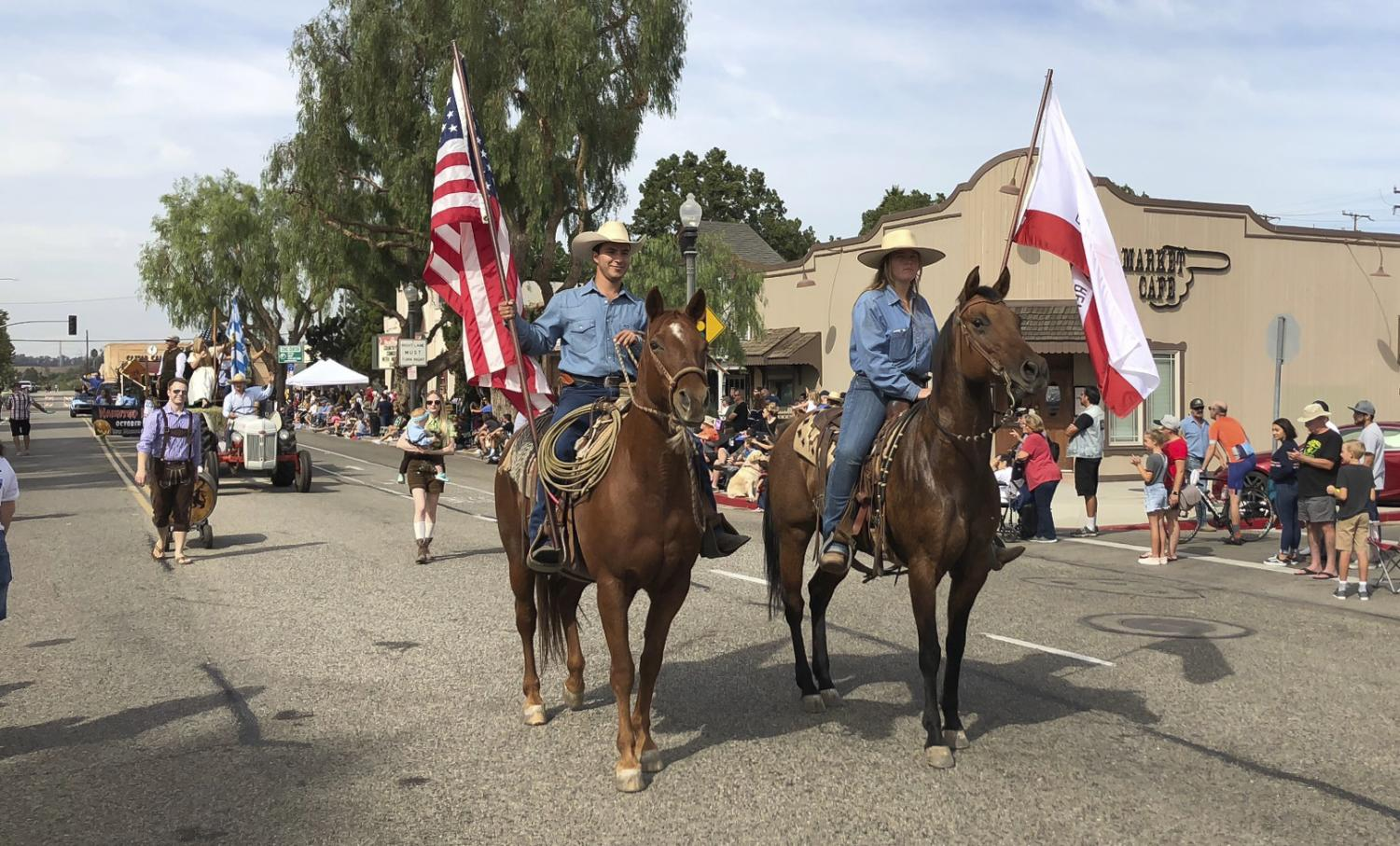 The Equestrian Unit marches down High Street, featuring members of the Folklorico dance group and Fillmore Cowboys, during the 2018 Moorpark Country Days.      Photo: Courtesy of Moorpark Country Days