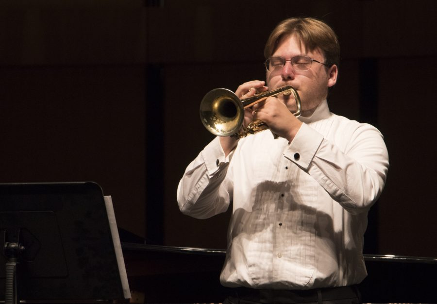 Brandon Douglass performs Sonata for Trumpet and Piano (Movement 1), during a dress rehearsal for the Applied Music Showcase on Tuesday, Oct. 22. Photo credit: Evan Reinhardt