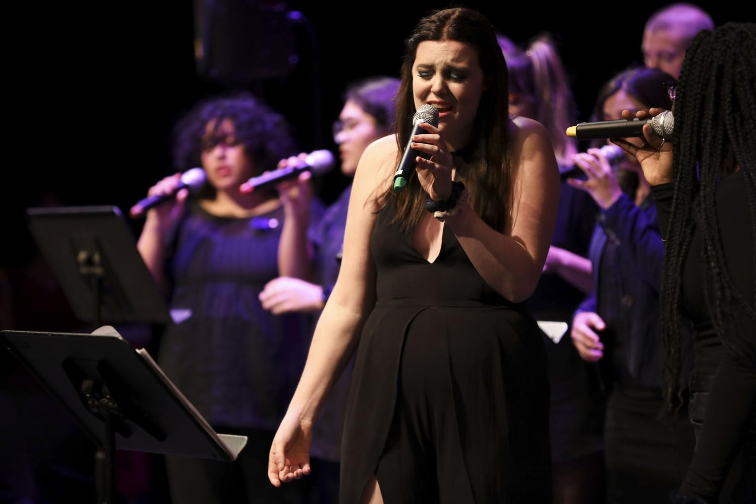 Rachel Nelson, a music major, sings a high note during the Sound Check event at Moorpark College on Oct.  18. Nelson sang lead for multiple songs and arranged the adaptation of