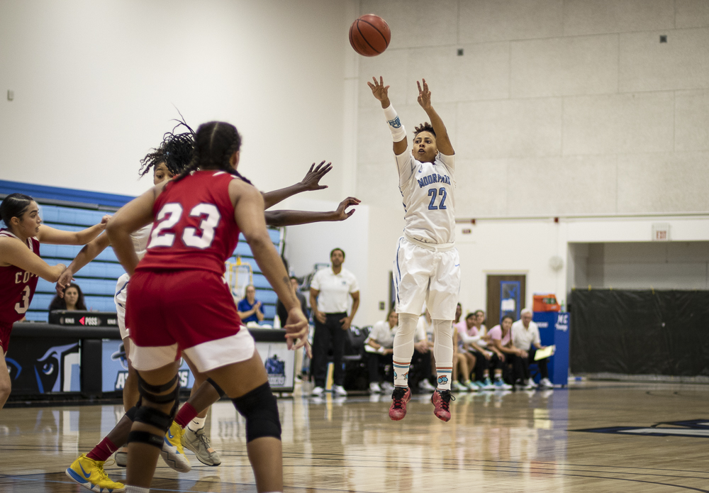Breanna Calhoun puts up a three pointer during Moorpark's matchup against Palomar College during the Crossover Tournament on Friday, Nov. 22. Photo credit: Evan Reinhardt