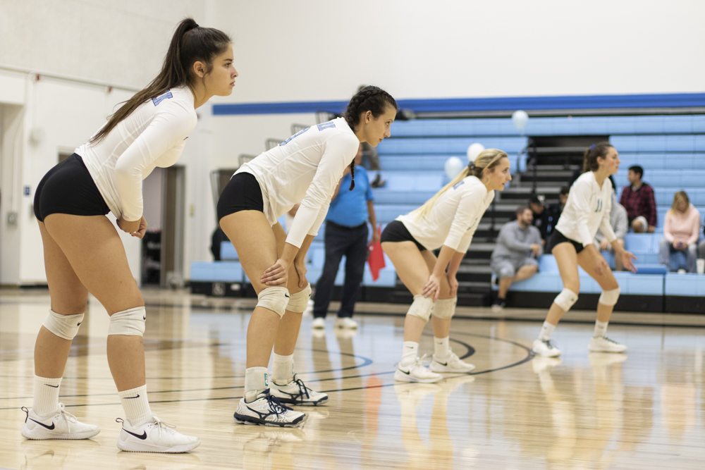 From left to right, Madison Fuller, Robin Valtchev, Cami Buerer and Hallie Perkins stand ready for a serve from LA Mission College during Moorpark's home game on Wednesday, Nov. 13. Photo credit: Evan Reinhardt