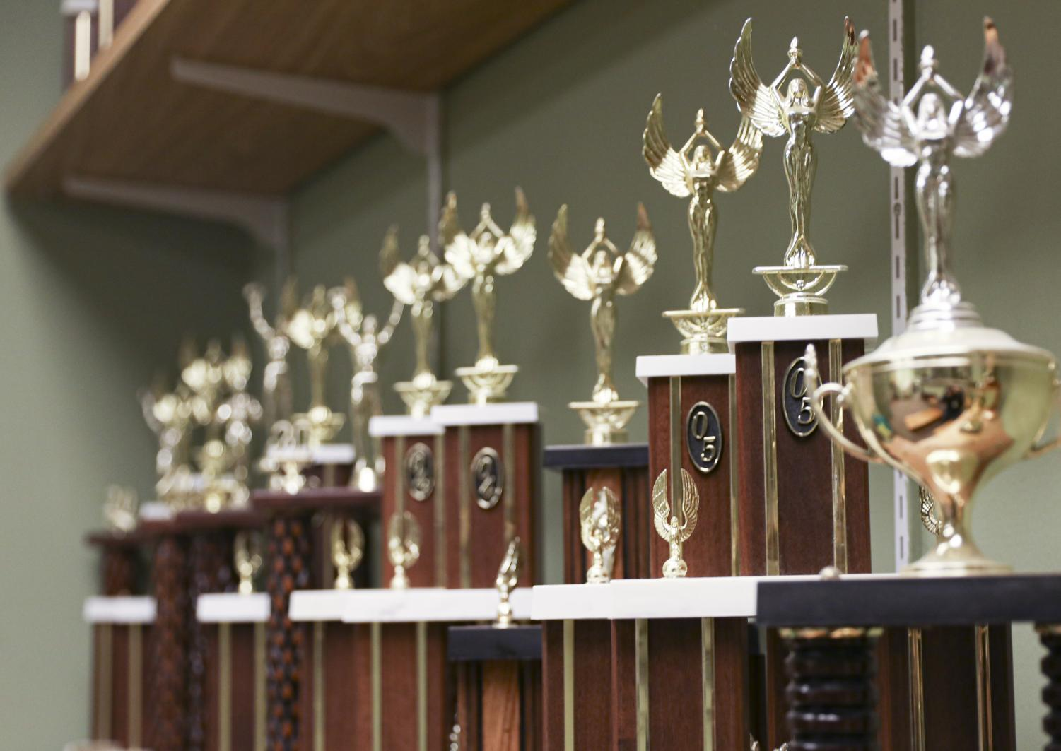 The Moorpark Forensics team's trophies are displayed in the performing arts center.  The Forensics team is preparing to debate in the 2019 Fall Forensics Showcase in the performing arts center Dec. 9-10. Photo credit: Ryan Bough