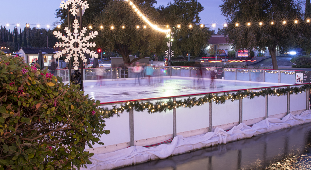Adults and kids alike ice skate at The Lakes temporary rink in Thousand Oaks, Calif. on Tuesday, Dec. 10. Photo credit: Evan Reinhardt
