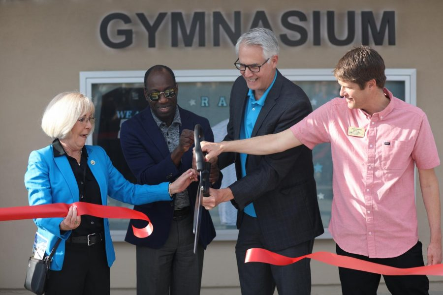 (Left to right) Janice Parvin, Julius Sokenu, Greg Gillespie and Josh Chancer cut the ribbon to celebrate Moorpark College's grand reopening of Raider Pavilion on Saturday, Jan. 25. Photo credit: Ryan Bough