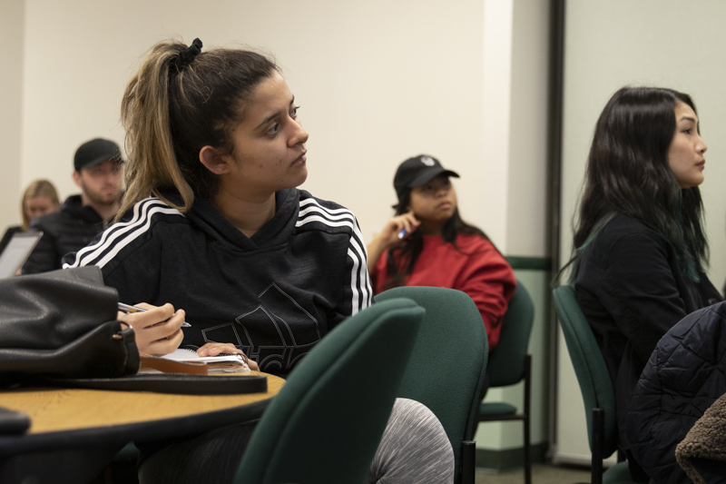 Kelly+Ramirez%2C+nursing+student+at+Moorpark%2C+takes+notes+during+the+meeting+on+Thursday%2C+Jan.+16%2C+in+the+campus+conference+room.+Ramirez+is+the+ICC+representative+for+the+Moorpark+College+Student+Nursing+Association.+Photo+credit%3A+Evan+Reinhardt