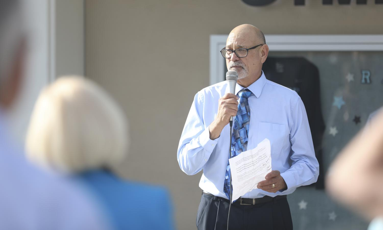 Vance Manakas, Moorpark College's Athletic Director, speaks to guests attending the grand reopening of Raider Pavilion at Moorpark College on Saturday, Jan. 25.