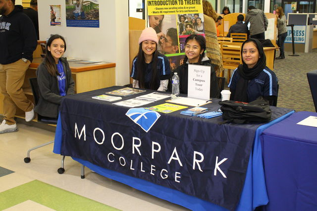 Priscilla Mosqueda at left, a counselor at Moorpark College, and students Janice Lai, Qiura Mendoza and Fareeha Ameen volunteer to help students sign in for the Cash for College event held in Fountain Hall at Moorpark College, Feb. 8, 2020. Photo credit: Justin Downes
