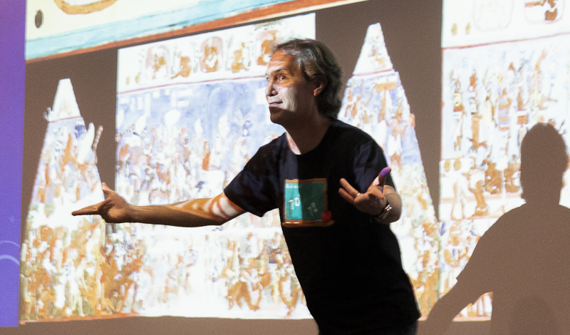 Moorpark College Anthropology Department Chair Dr. Andrew Kinkella discusses the ancient Mayan's study of astronomy at the Moorpark College Forum on Friday, Feb. 21. Photo credit: Justin Downes