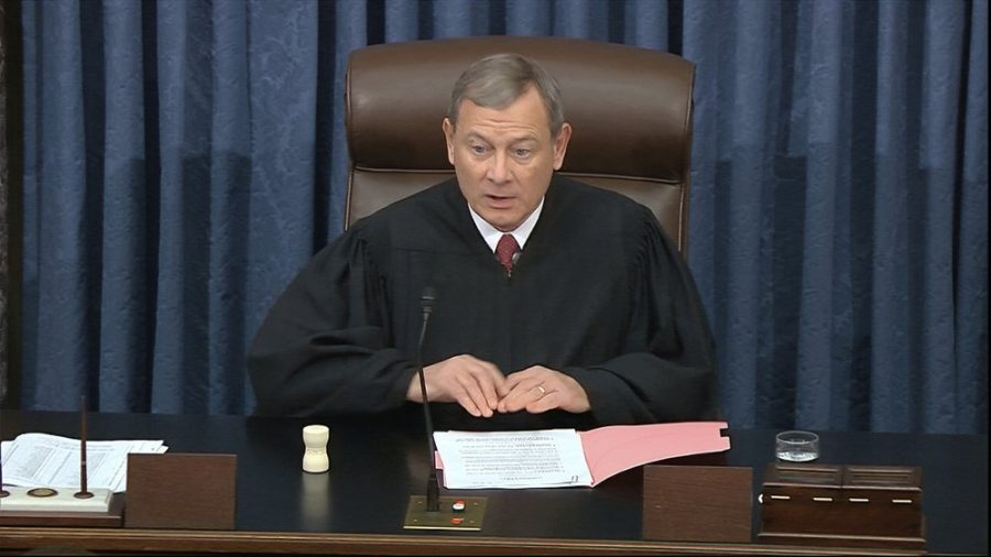 Chief Justice John Roberts speaks before the vote in President Trumps impeachment trial in the U.S. Capitol in Washington on Wednesday, Feb. 5. Image taken from video from the Senate Television via AP.