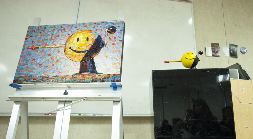 "Raymond Logan&squot;s work ""Smiley"" is displayed for student attendees of the talk on Tuesday, March 3, in the Applied Arts building. The piece is a depiction of a pencil sharpener, owned by Logan&squot;s wife, Julie Logan."