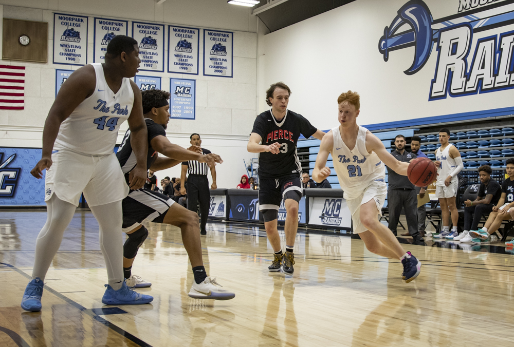 Sophomore forward Tim Andreolli blows past his defender against Pierce College on Wednesday, Feb. 5 at Moorpark College.