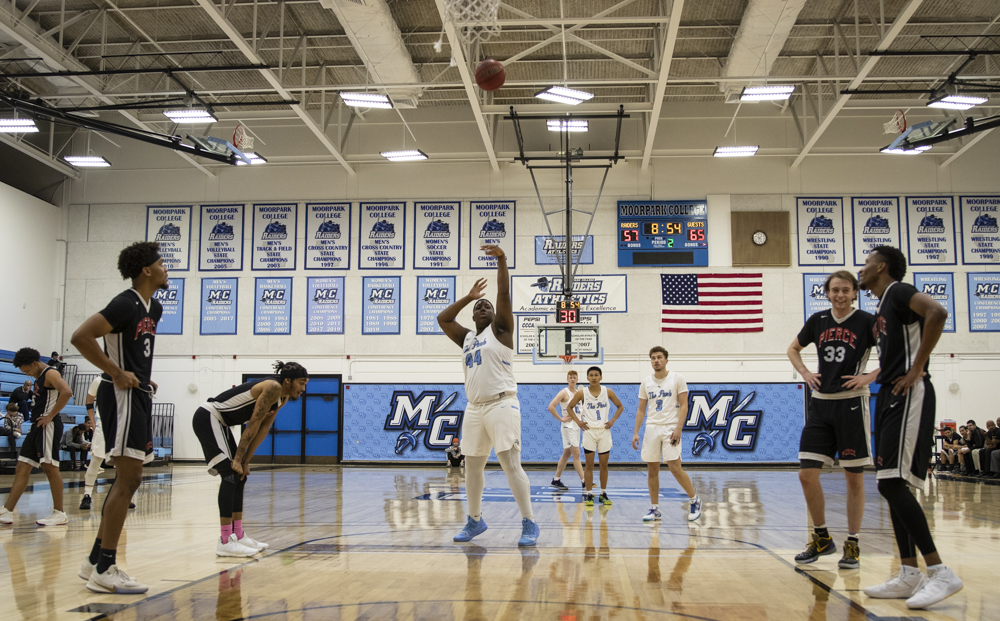 Freshman center, Derrick Young Jr., attempts a free throw during Moorpark's home game against Pierce College on Wednesday, Feb. 5.