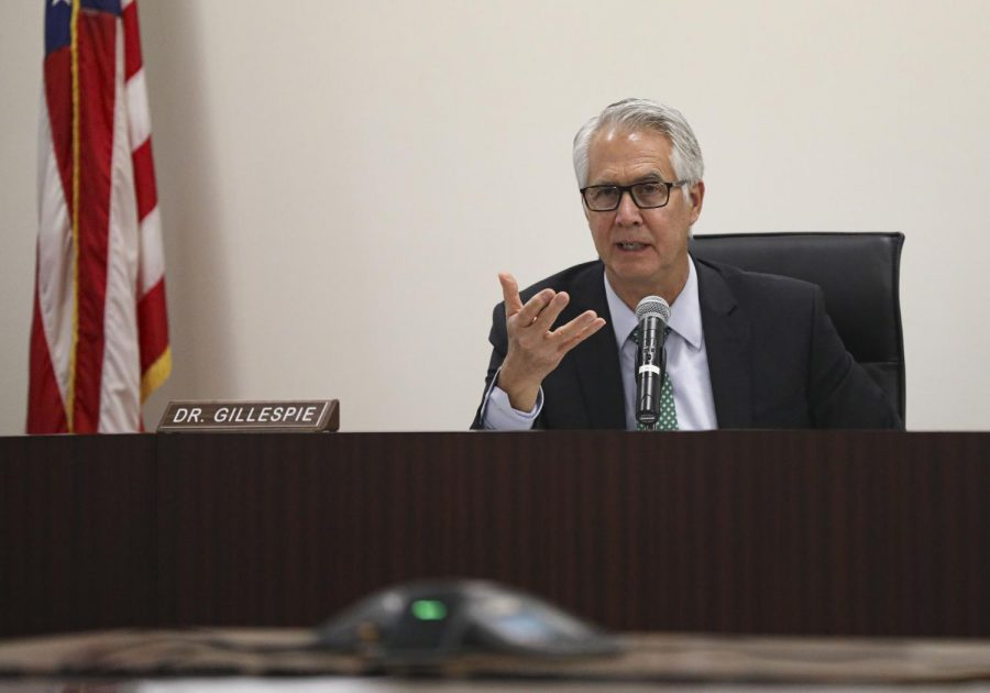 Chancellor Greg Gillespie gives an update on COVID-19 to the board and public at the special meeting on Tuesday, March 18, in Camarillo, Calif. Photo credit: Ryan Bough