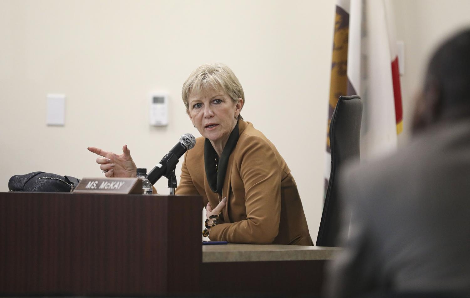 Trustee Dianne McKay addressees her concerns to Moorpark College's Interim president Julius Sokenu about Americans Teaching Zoo with the possible closure of the campuses at the special meeting on Tuesday, March 18, at the district office in Camarillo, Calif.