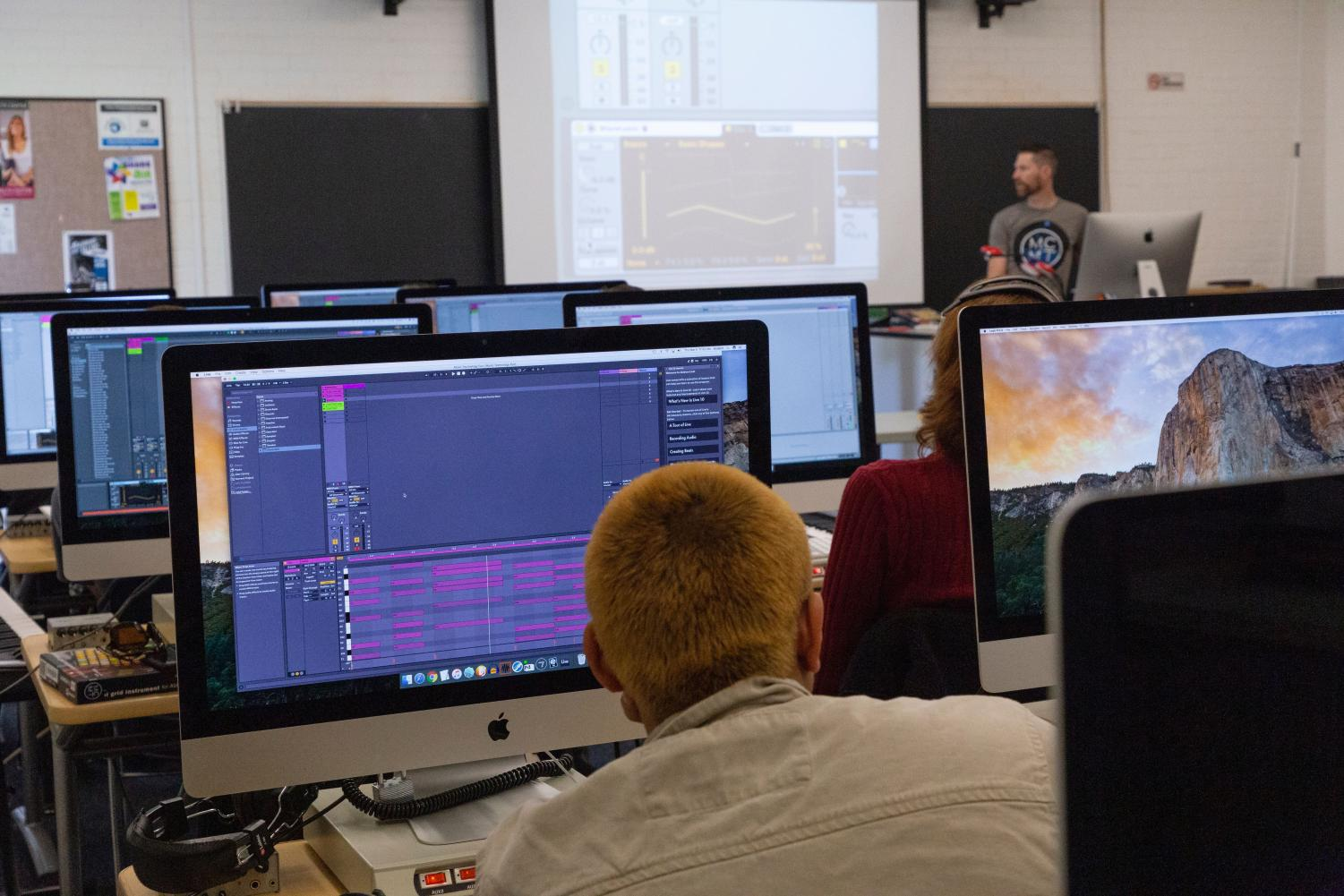 Professor Nathan Bowen demonstrates how to use the software Ableton Live during class on Thursday March 5, at Moorpark College.