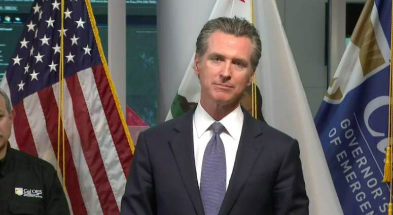 Screenshot+of+California+Gavin+Newsom+during+the+live+streamed+news+conference+on+Thursday%2C+March+19.