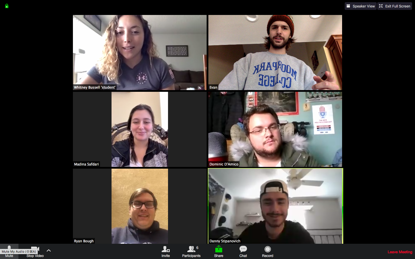 Zoom conference call among Moorpark Reporter editors commences due to closing of campus, on Tuesday, March 31.