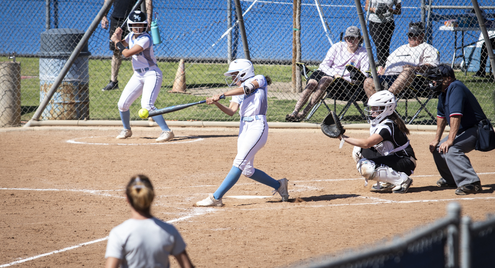 Freshman Bethany Yzaguirre makes contact with a ball, hitting it foul during Moorpark's home game against Ohlone College on Saturday, Feb. 29. Yzaguirre got two hits from her four at-bats, but never made it home.