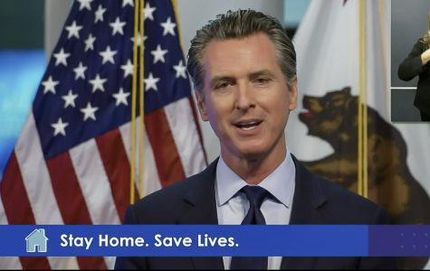 Governor Gavin Newsom delivers an address via live stream to Californians regarding COVID-19 and plans to reopen the state on Tuesday, April 14. Screenshot taken from Twitter.