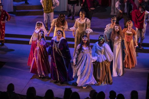The cast of Romeo and Juliet perform the scene where Romeo meets Juliet for the first time, on Tuesday, March 12, in the performing arts building. Photo credit: Evan Reinhardt