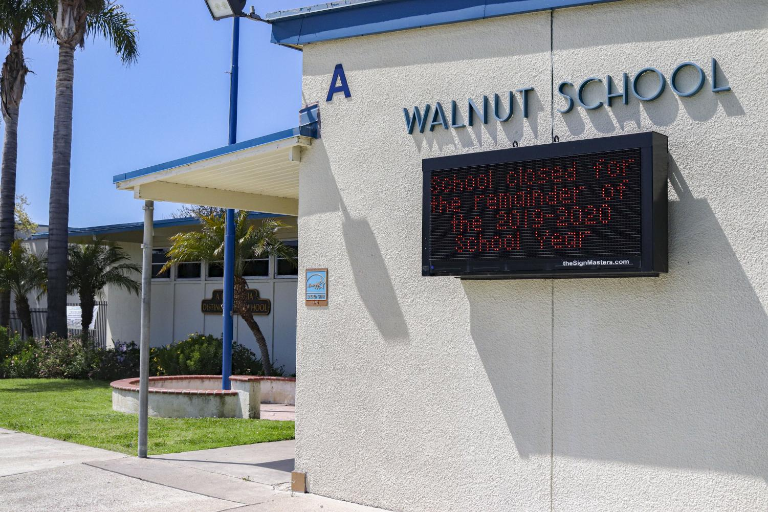Walnut Elementary School in Newbury Park, Calif. remains closed on Friday, April 3, due to COVID-19 and order from Ventura County Office of Education.