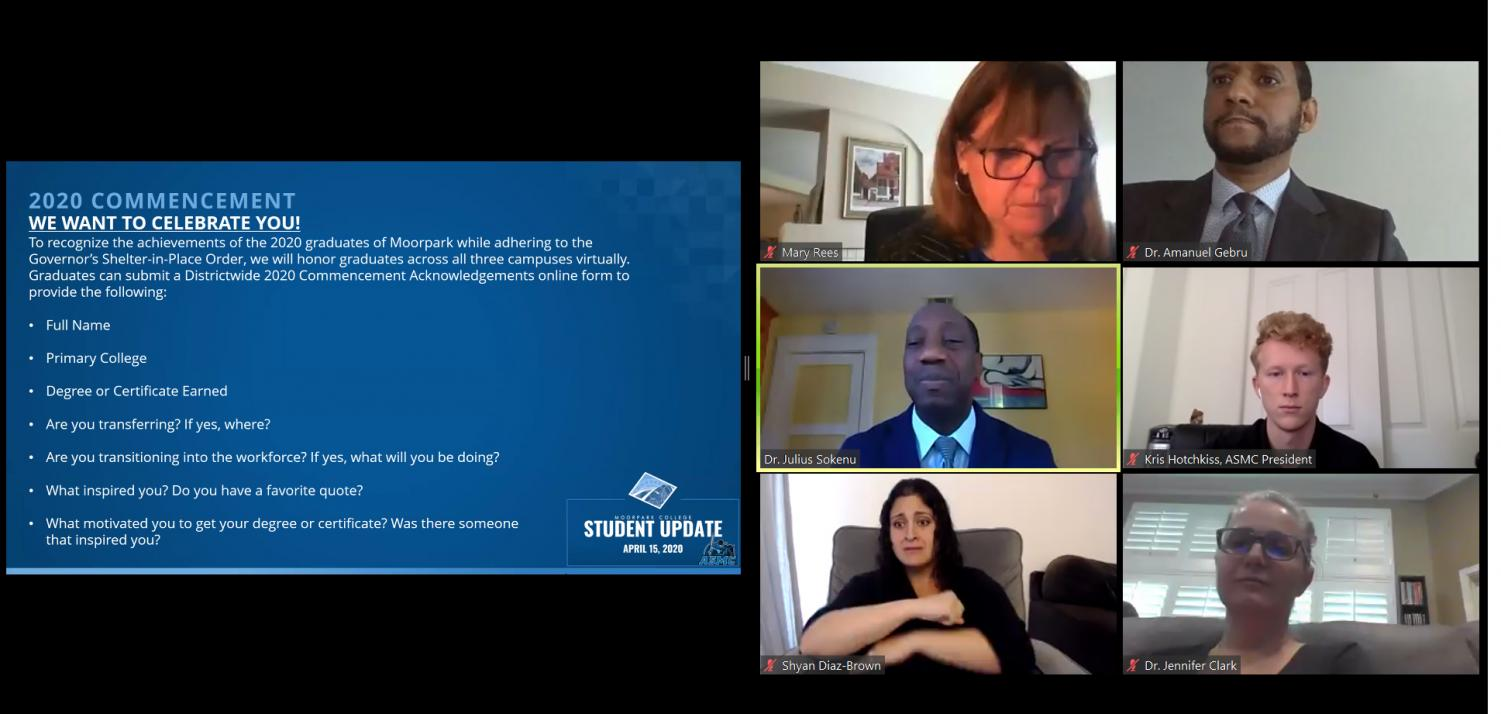 Moorpark College Interim President Julius Sokenu hosts a campus update webinar through Zoom along with ASMC president Kris Hotchkiss and other administrative staff members on Wednesday, April 15.