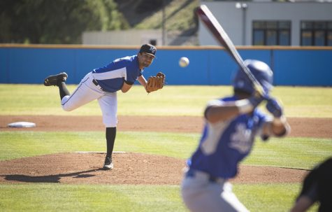 Freshman Noah Balandran launches a pitch at the Bulldog batter during Moorpark's home game against Allan Hancock College on Thursday, Feb. 20, 2020. Photo credit: Evan Reinhardt