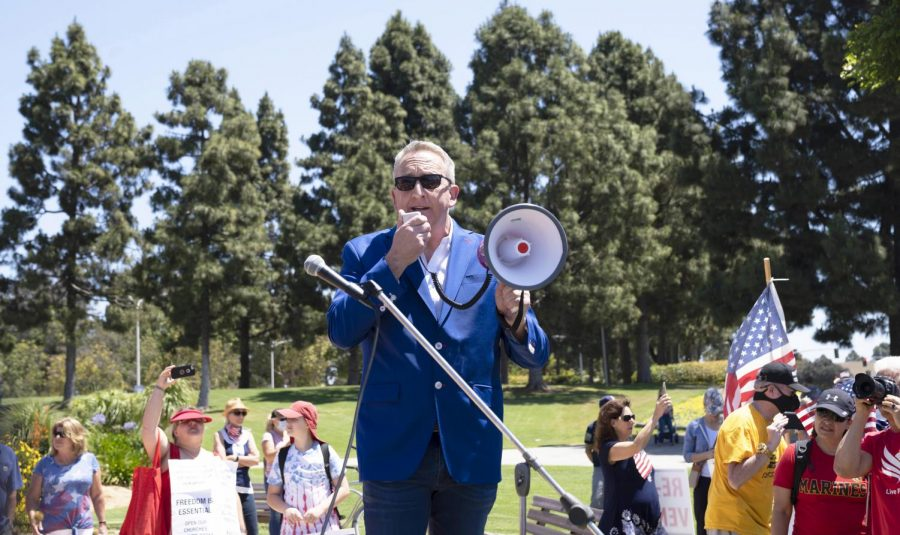 Pastor Rob McCoy addresses the protestors gathered at the Ventura County Government Center  on May 1, 2020 in opposition to the current Covid-19 shutdown restrictions. Photo credit: Tara Brown