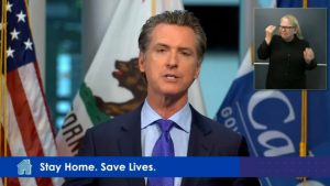 Governor Gavin Newsom delivers an address via live stream to Californians regarding COVID-19 and plans on reopening the state on Monday, May 4.